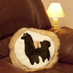 Round Baby Alpaca Fur Cushion
