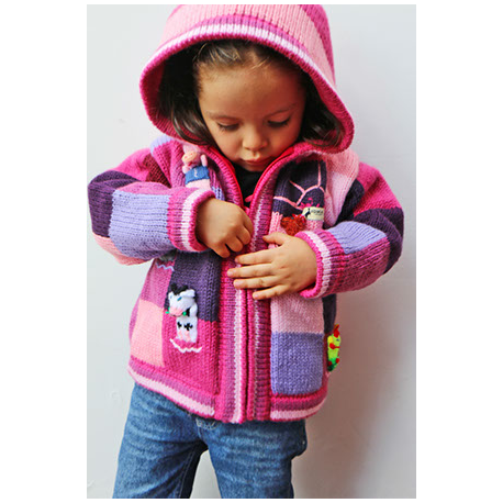 Alpaca Lined Jacket with Puppets-Pink