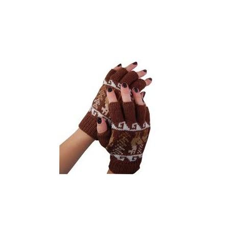 Fingerless Alpaca Design Gloves