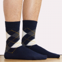Men's Navy Intarsia Socks