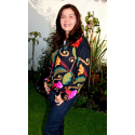 Ladies Intarsia Flower Jacket
