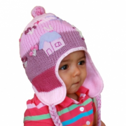 Babies, Girls Applique Fleeced Alpaca Hat
