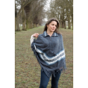 Ladies V-Neck Poncho with Collar