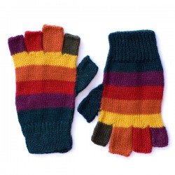 Children's Stripy Fingerless Gloves