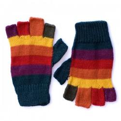 Children's Stripy Fingerless Gloves