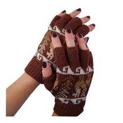 Fingerless Alpaca Design Gloves