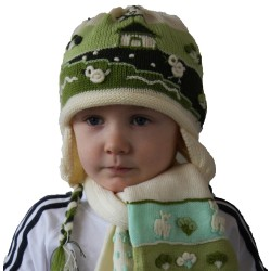 Children Applique Alpaca Hats-green
