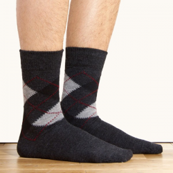 Men's Intarsia Charcoal Socks